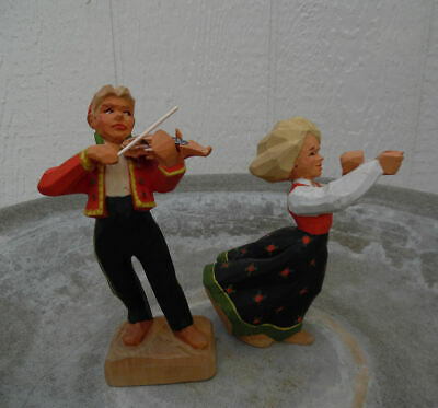Henning Norway Fiddler Boy And Girl 2 Wood Figures Last Chance Price Offer