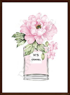 Pink Perfume Bottle Print Wall Art Watercolour Picture Home Decor Pink Peony A4