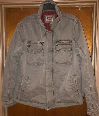 Levis Strauss Charcoal Gray Zip Up Cafe Racer Trucker Jacket Utility