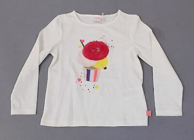 Billieblush Girl's Long Sleeve Cotton Fur Ice Cream Top DD5 Ivory Size 4 NWT