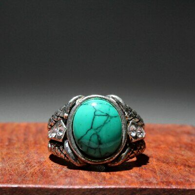 Collectable China Miao Silver Mosaic Turquoise Beautiful Auspicious Noble Ring