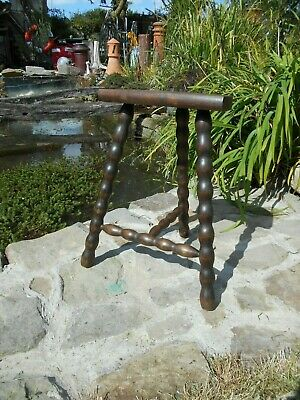 Vintage French 3 legged stool half moon oak  shabby chic bobbin legs