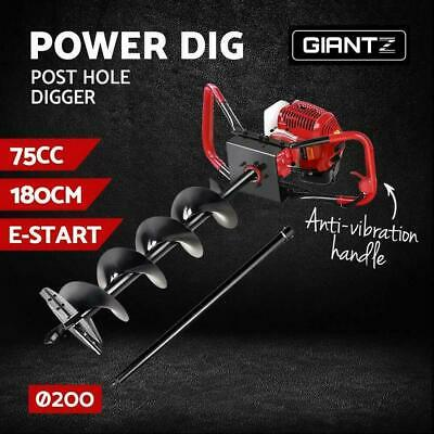 @TOP  75cc Post Hole Digger Petrol Posthole Driver with 80cm Extension Shaft