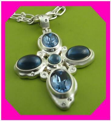 NWT Brighton VERSAILLES NEPTUNE CROSS Silver Blue Necklace MSRP $115
