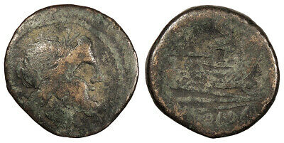 ROMAN REPUBLICAN Anonymous AE Semis After 211 B.C. About Fine
