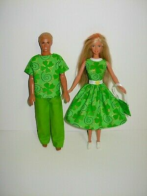 USA Handmade Barbie clothes. Matching St. Patrick's outfits 4 Barbie & Ken doll