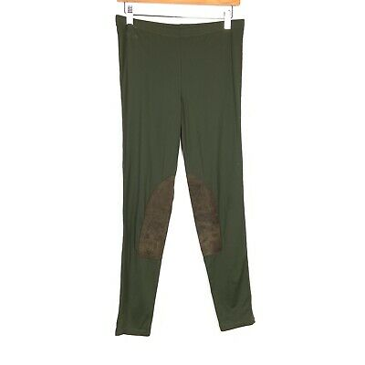 Ralph Lauren Rugby Jodhpur Leggings Faux Suede Patch Equestrian Pants Green