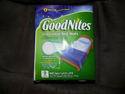 GoodNites Disposable Bed Mats Mattress Pad 9 Count NEW