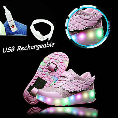 Rechargeable Roller Shoes with Light Flashing Wheel Skate Sneaker for Kids Teens