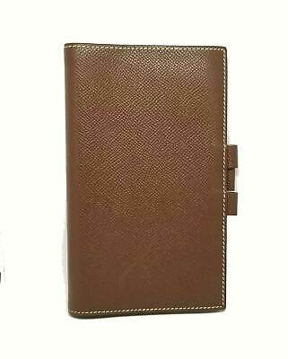 Authentic HERMES Notebook Cover Vision Brown Epson Leather