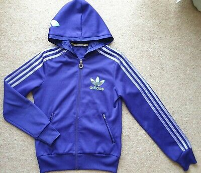 Rare Womens Adidas Originals Purple Zip Up Hoodie With Turquoise Badge Size 10