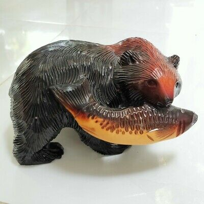 Realistic Bear with Fish Hand Carved Wood Statue Brown Vintage Sculpture Decor