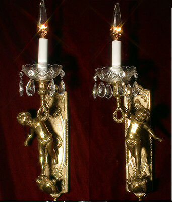 PAIR Vintage bronze Italian torch cherub Figural sconce wall lamp crystal brass