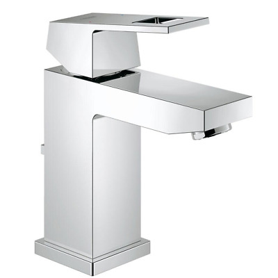 💙 GROHE® Eurocube Mono Basin Mixer with Pop-up Waste In Chrome - Model 23127000