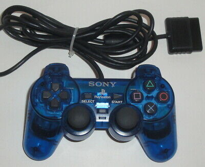"""SONY PS2 """"Ocean Blue"""" CONTROLLER SCPH-10010 A Dual Shock Clear OEM Playstation 2"""
