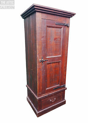 Charming Old Antique Vintage Stained Pine Single Wardrobe w/ Drawer