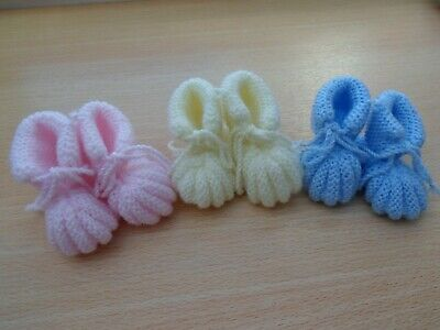 Hand Knitted Traditional Baby Bootees Blue Newborn