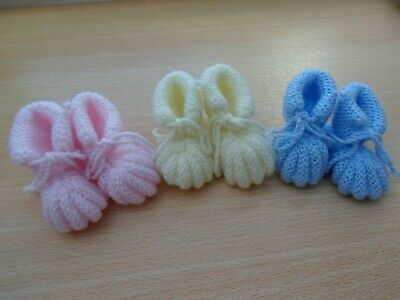 Hand Knitted Traditional Baby Bootees Pink Newborn