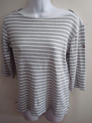 tommy hilfiger top blouse large l womens gray white striped casual stretch