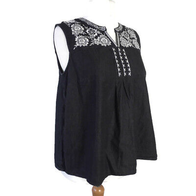 TU Black Denim White Floral Embroidered Smock Casual Tunic Top Plus Size 18