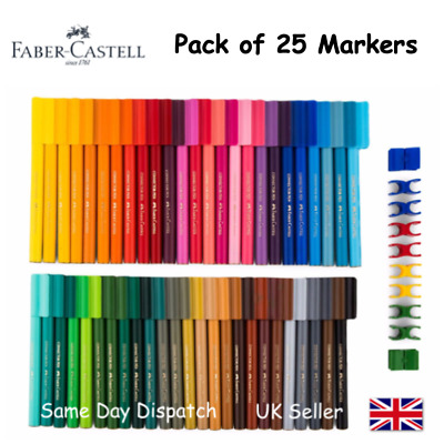 FABER CASTELL SET OF 25 FELT TIP CONNECTOR PENS - Artist & Craft Markers