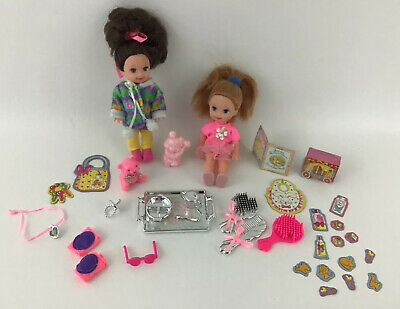 Kelly Baby Sister Lot Barbie Playset Mattel Doll pacifier bowl cup silver tray