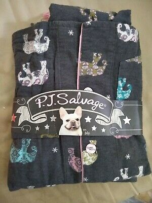 """NEW P.J.SALVAGE """"ELEPHANT"""" FLANNEL PAJAMAS TOPS BOTTOMS, Size M"""