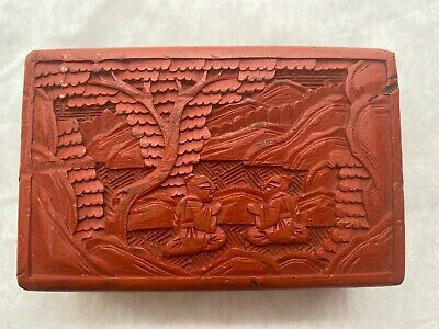 Antique Chinese Carved Cinnabar Lacquer Box - Seated Monks in Landscape