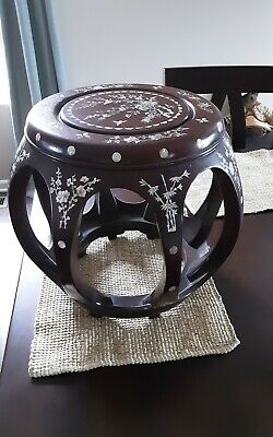 Vintage Chinese Wood Barrel Stool w/Inlaid Mother of Pearl