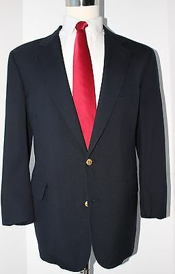 Brooks Brothers Navy Blue Two Gold Button Wool Blazer Size 42 Regular