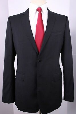 Burberry London Black Solid Side Vented Wool 2 Button Suit 39 Long 36 34 Flat