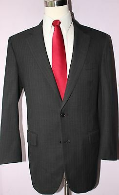 Brooks Brothers Madison Charcoal Gray Striped Wool Two Button Suit 42 Long 34 30