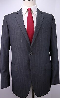 Brooks Brothers Fitzgerald Two Button Gray Striped Wool Suit 42 Long 38 29 Flat