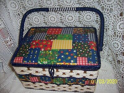 Vintage Retro Cane Sewing Box Craft Basket And Vintage Sewing Items