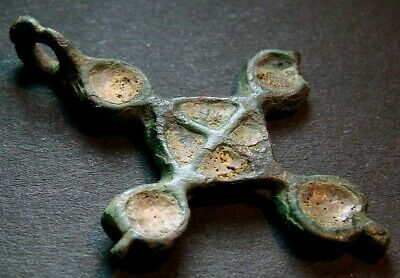 VERY ANCIENT BRONZE CROSS WITH ENAMEL. KIEVAN RUS 11 - 13 CENTURY 35 mm. (R.094)