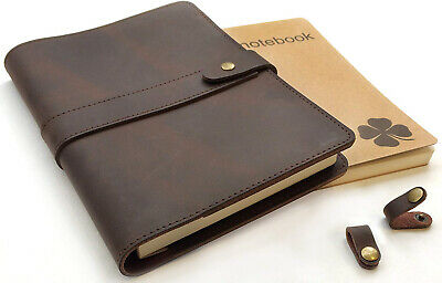 Le Vent Refillable Leather Journal, with 2 Bound A5 Notebooks Lined and Blank