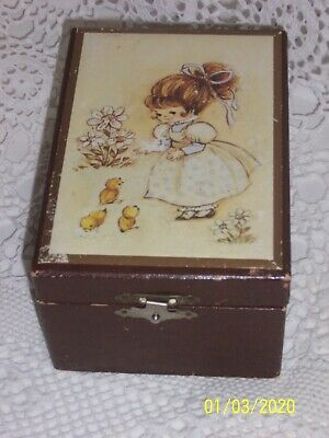 Vintage Retro Jewellery Ballerina Music Box with wind up Key 1970s made in Japan