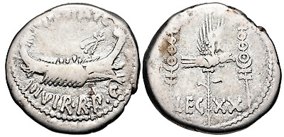 The Triumvirs. Mark Antony. Autumn 32-spring 31 BC. AR Denarius (17.5mm, 3.41 g,