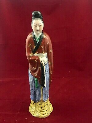Large Antique Chinese Porcelain Famille Rose Figure Figurine of a Woman (H 36cm)