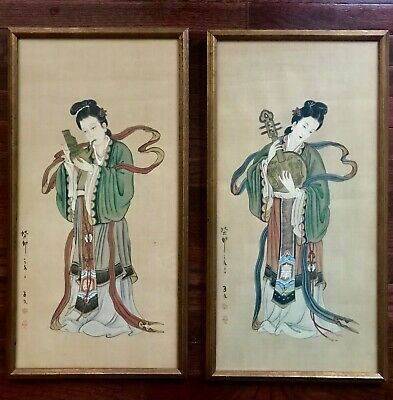 Pair of framed antique Chinese hand-paintings on silk  beauties w/Instruments
