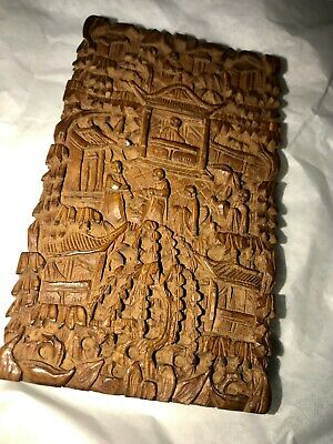 Antique Chinese Wood Card Case Carved Canton