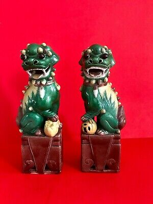 "Antique Chinese Sancai Glazed Foo Dogs 12""  (30.5cm) Pair Figures Statues"