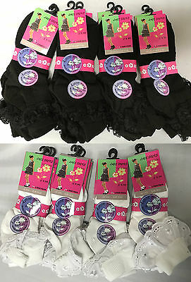 12 Pairs Kids Girls Cotton Frilly Lace Socks School Summer Trainer Ankle Socks