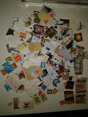 unsorted World Stamps off paper collections