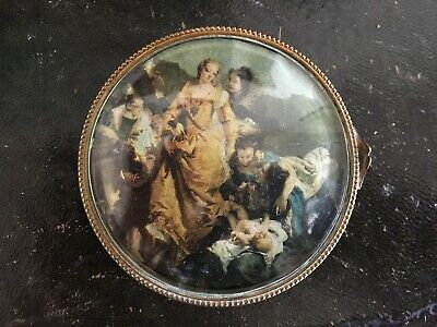 Antique French Gilt Brass & Velvet Compactum / Powder Bowl Bevelled Glass Lid
