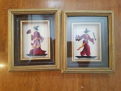 Vintage Petit Point Oriental Man Woman Deep Box Frame Used Great Condition