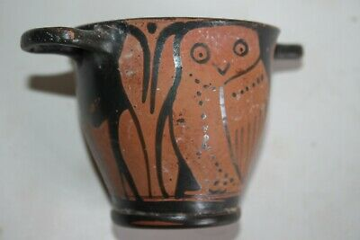 ANCIENT GREEK POTTERY RED FIGURE OWL SKYPHOS 5th CENTURY BC