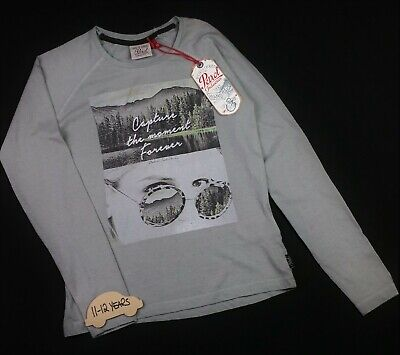 Girls Clothes PETROL INDUSTRIES Cotton Rich L/Sleeve Graphic Top 11-12 Yrs  BNWT