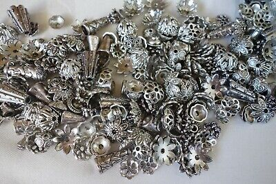 50 pcs Mixed Antique Silver Coloured Bead Caps 6mm-20mm #bc0185 Jewellery Craft