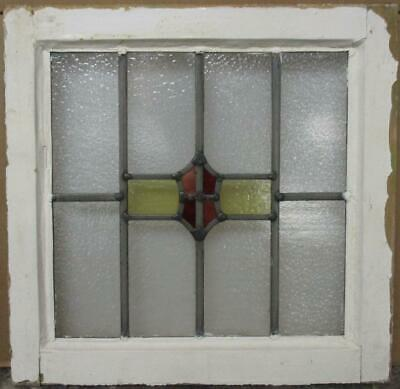 "OLD ENGLISH LEADED STAINED GLASS WINDOW Pretty Geometric Shield 18.75"" x 18.5"""